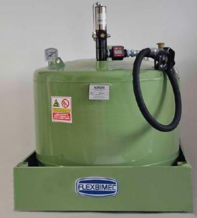 cisterna gasolio da 490 lt con bacino di contenimento e pompa erogazione pneumatica (optional)